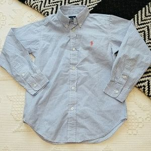 Boys Blue White Ralph Lauren button down shirt 7